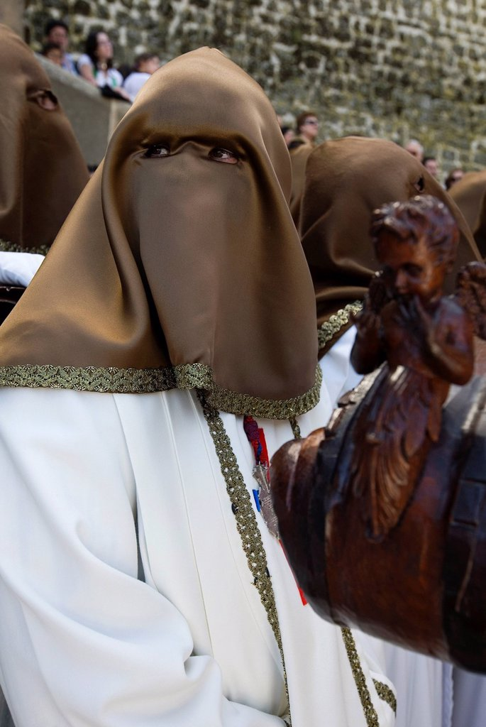 Stock Photo: 1848-659487 Penitents in a holy week procession in Ubeda, Jaén, Spain, Europe