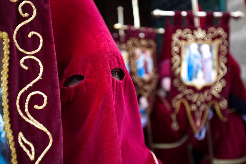 Stock Photo: 1848-659489 Penitent in a holy week procession in Ubeda, Jaén, Spain, Europe