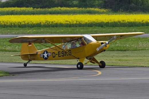 Stock Photo: 1848-6600 Small, single_engined sports plane taxiing on the runway of Egelsbach Airport, Hesse, Germany, Europe