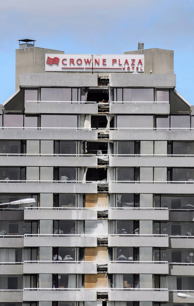 Facade of the famous Crown Plaza Hotel, heavily damaged by earthquakes, Christchurch, South Island, New Zealand : Stock Photo