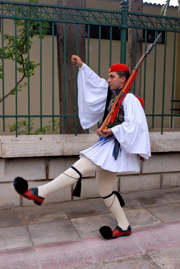 Stock Photo: 1848-660276 Evzone, Greek guard soldier from the village Evzone, traditional changing of the guard in front of the Greek Parliament, Athens, Greece, Europe
