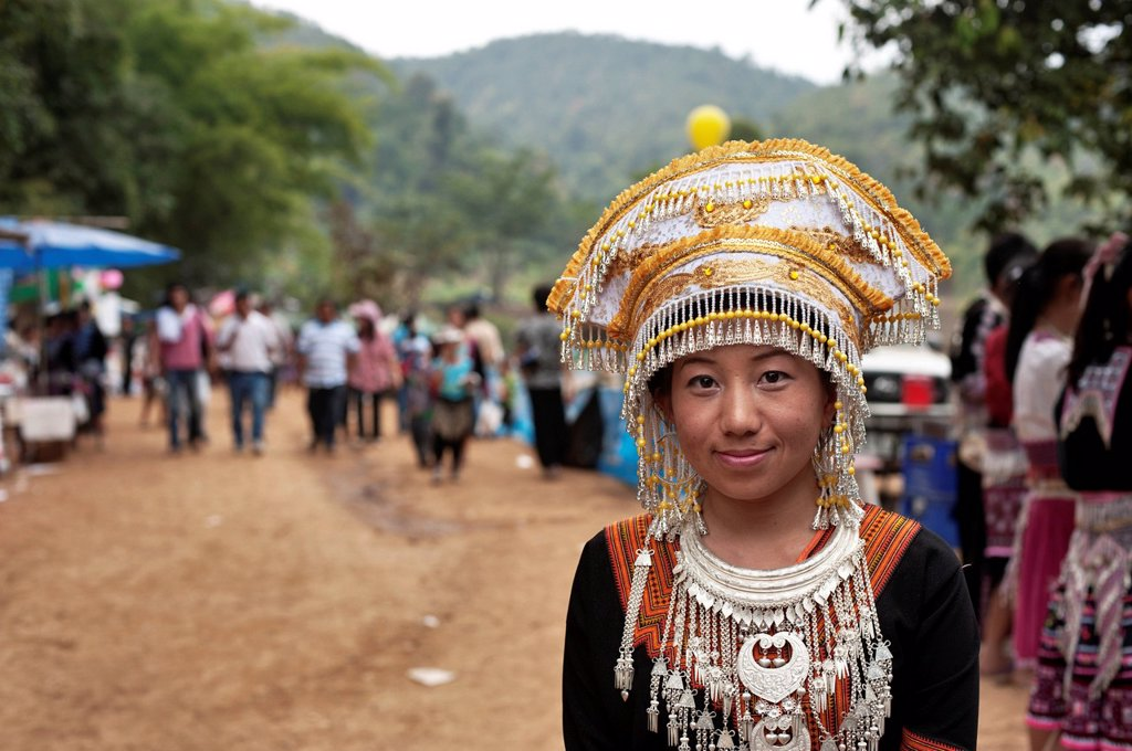 Stock Photo: 1848-660279 Traditionally dressed Hmong woman at a new year festival at Hung Saew village, Chiang Mai, Thailand, Asia