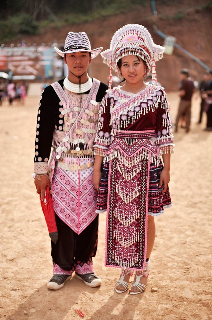 Stock Photo: 1848-660280 Young Hmong couple, traditionally dressed, at a new year festival at Hung Saew village, Chiang Mai, Thailand, Asia