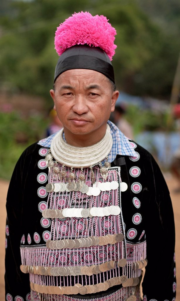 Hmong man, traditionally dressed, at a new year festival at Hung Saew village, Chiang Mai, Thailand, Asia : Stock Photo