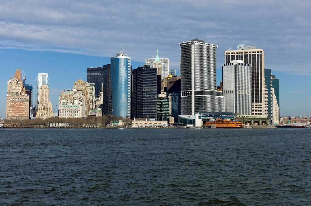 Stock Photo: 1848-660487 Skyline of New York City, Battery Park, East River, New York, United States of America, USA
