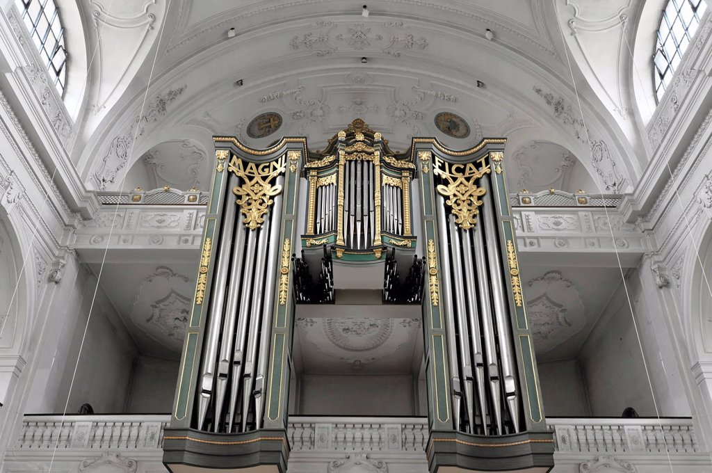 Interior view, organ, basilica and pilgrimage church of St. Anna, Altoetting, Bavaria, Germany, Europe : Stock Photo