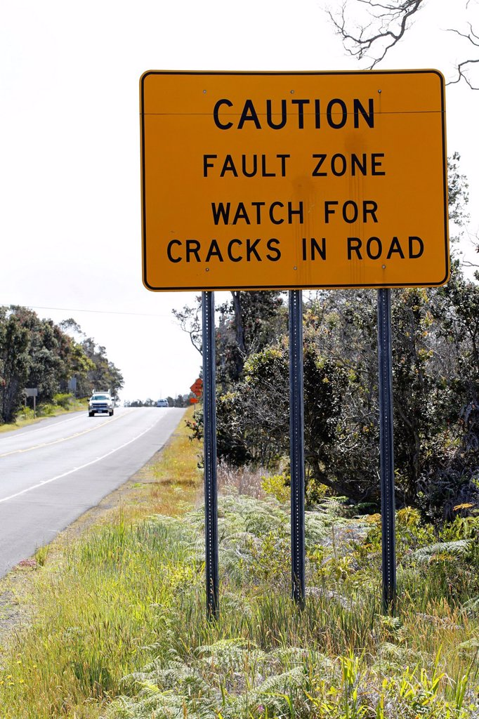 Stock Photo: 1848-660724 Warning sign, fault zone, Hawai´i Volcanoes National Park, Big Island of Hawaii, USA