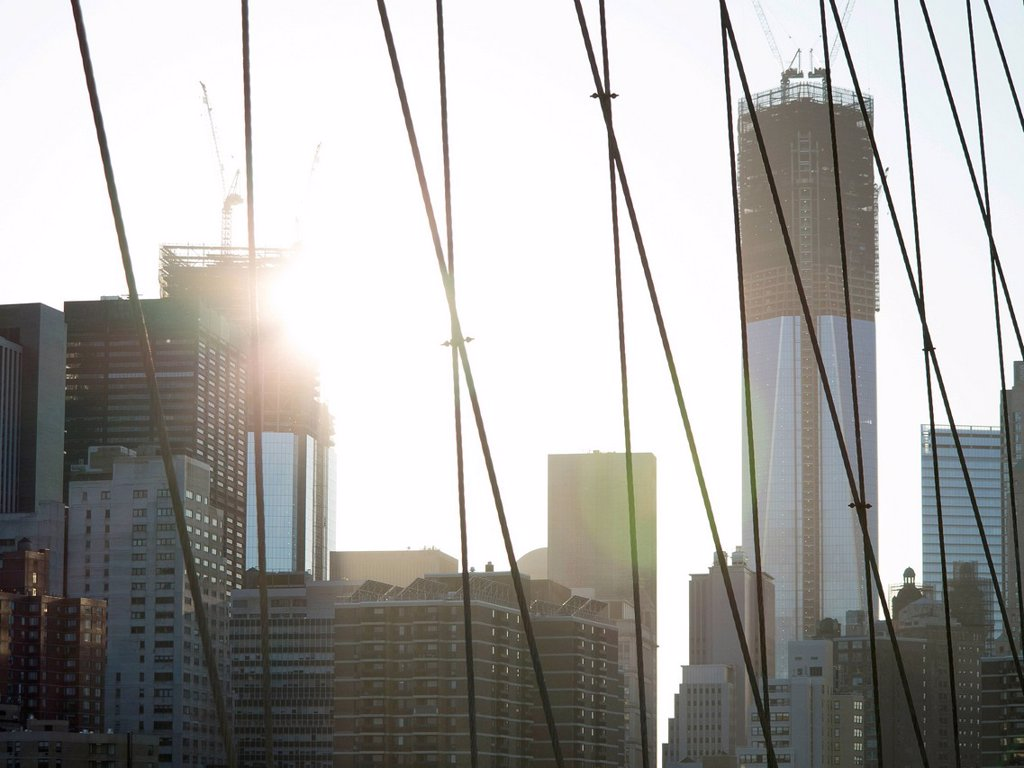 Freedom Tower under construction, One World Trade Center, view from Brooklyn Bridge to the Financial District, New York City, USA, North America, America : Stock Photo