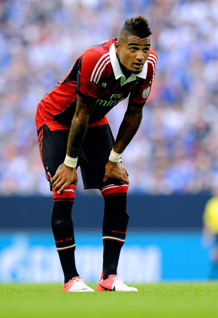 Stock Photo: 1848-660834 Kevin_Prince Boateng, FC Schalke 04 vs AC Milan, 0_1, friendly game during the 2012_2013 season, Veltins_Arena stadium in Gelsenkirchen, North Rhine_Westphalia, Germany, Europe