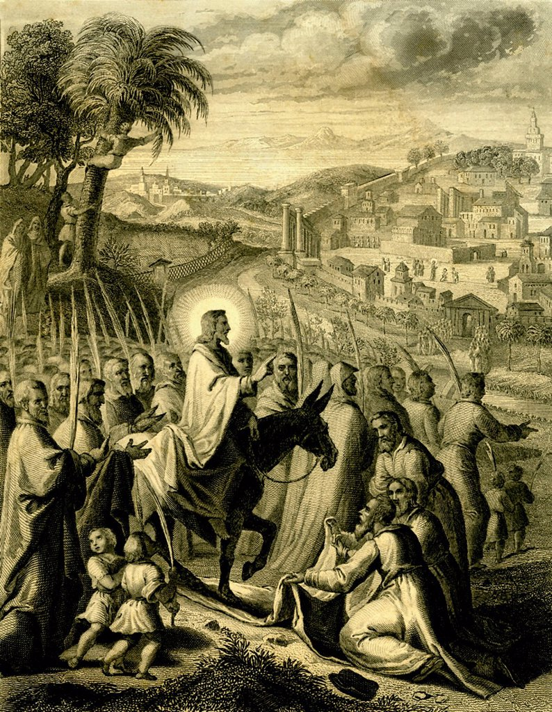Jesus on Palm Sunday Pentecostes, biblical scene, historical print from 1876 : Stock Photo
