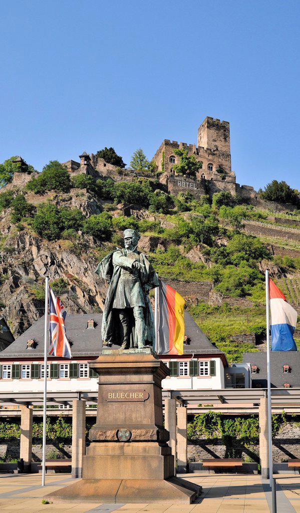 Stock Photo: 1848-661074 Statue of Gebhard Leberecht von Bluecher and Gutenfels Castle, Kaub, Upper Middle Rhine Valley, a UNESCO World Heritage Site, Rhineland_Palatinate, Germany, Europe