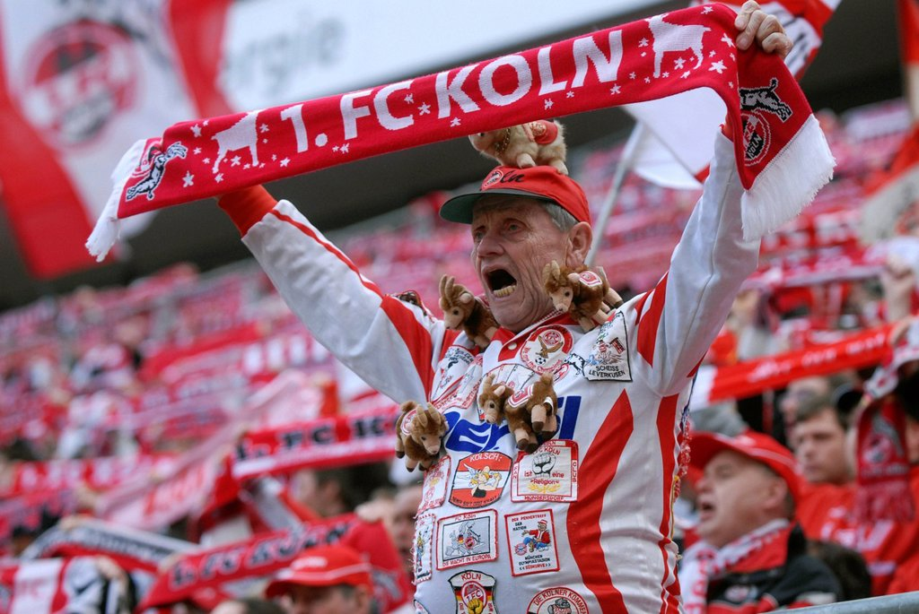 Stock Photo: 1848-661518 Cologne fans cheering their team at the start of the game, Bundesliga federal league, 1. FC Koeln _ FSV Mainz 05 4:2, Rhein_Energie_Stadion, Cologne, North Rhine_Westphalia, Germany, Europe