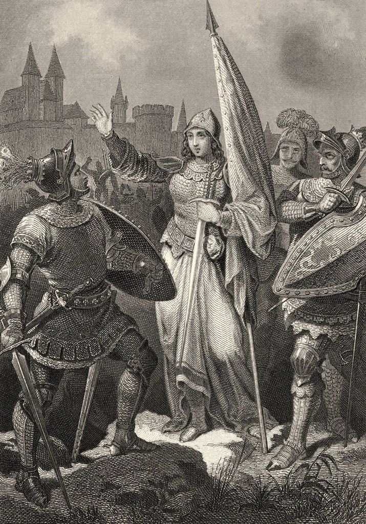 Historic steel engraving by Ferdinand Rothbart, 1823 _ 1899, a German illustrator, Joan of Arc or Jeanne d´Arc, 1412 _ 1431, scene from The Maid of Orleans, a drama by Johann Christoph Friedrich von Schiller : Stock Photo