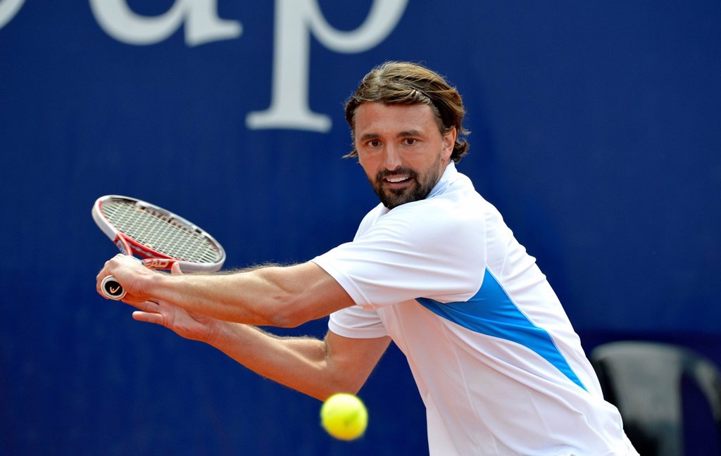 Stock Photo: 1848-661657 Goran Ivanisevic, CRO, exhibition match, tennis, Mercedes Cup 2012 _ Weissenhof, Stuttgart, Baden_Wuerttemberg, Germany, Europe