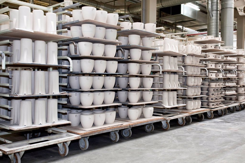 Transport of raw materials for the cleaners, coffee pots from Versace, in the production of tableware at the porcelain manufacturer Rosenthal GmbH, Speichersdorf, Bavaria, Germany, Europe : Stock Photo