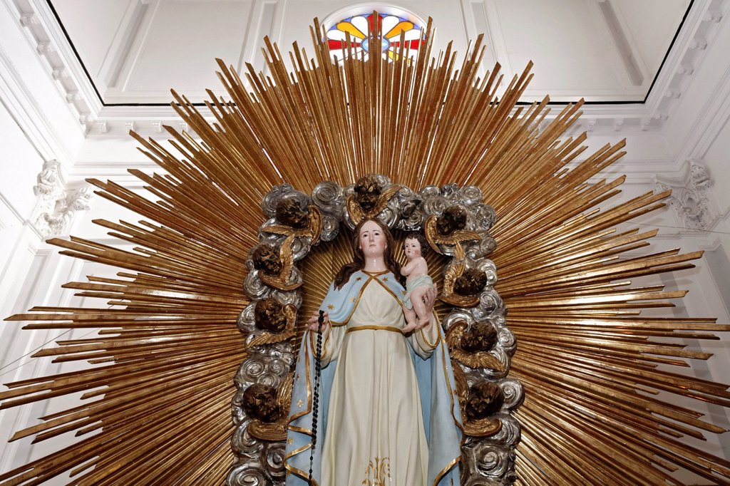 Madonna with corona, Santa Maria Penitente, Casamicciola Terme, Ischia Island, Gulf of Naples, Campania, Southern Italy, Italy, Europe : Stock Photo