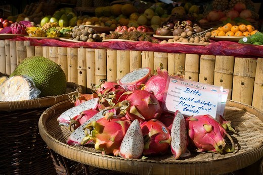 Tropical fruit sold at a market stall, Viktualienmarkt Market, Munich, Bavaria, Germany : Stock Photo