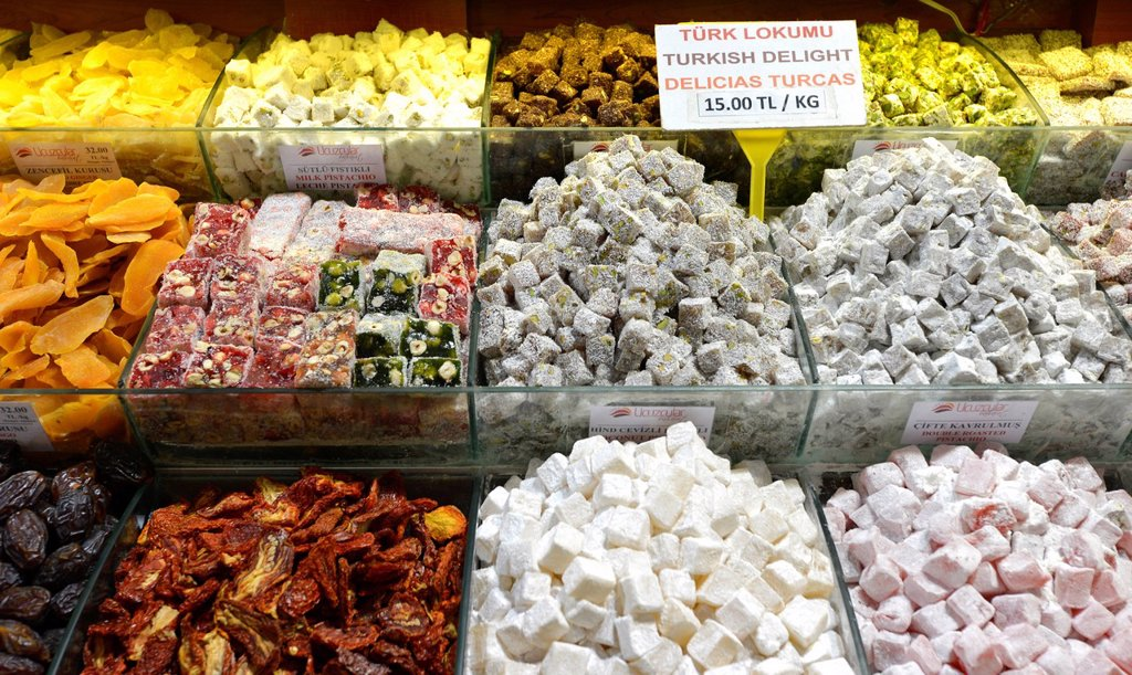 Turkish delight, Lokum, indoor spice bazaar, Egyptian bazaar, Eminoenue, Istanbul, Turkey, Europe, PublicGround : Stock Photo