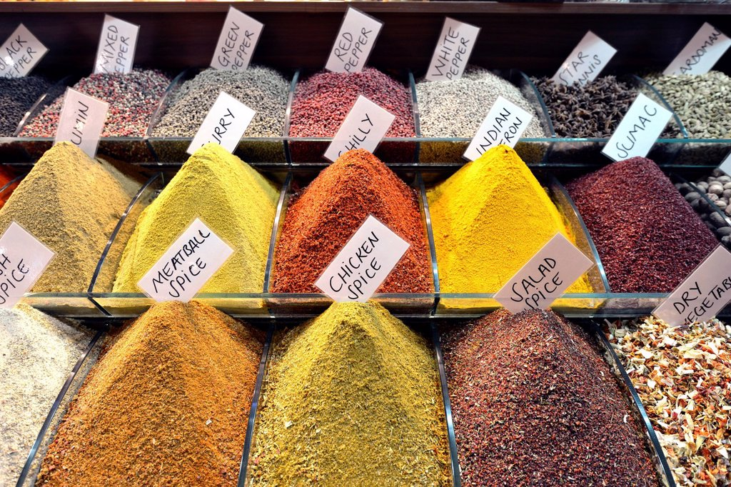 Stock Photo: 1848-662194 Spices, indoor spice bazaar, Egyptian bazaar, Eminoenue, Istanbul, Turkey, Europe, PublicGround