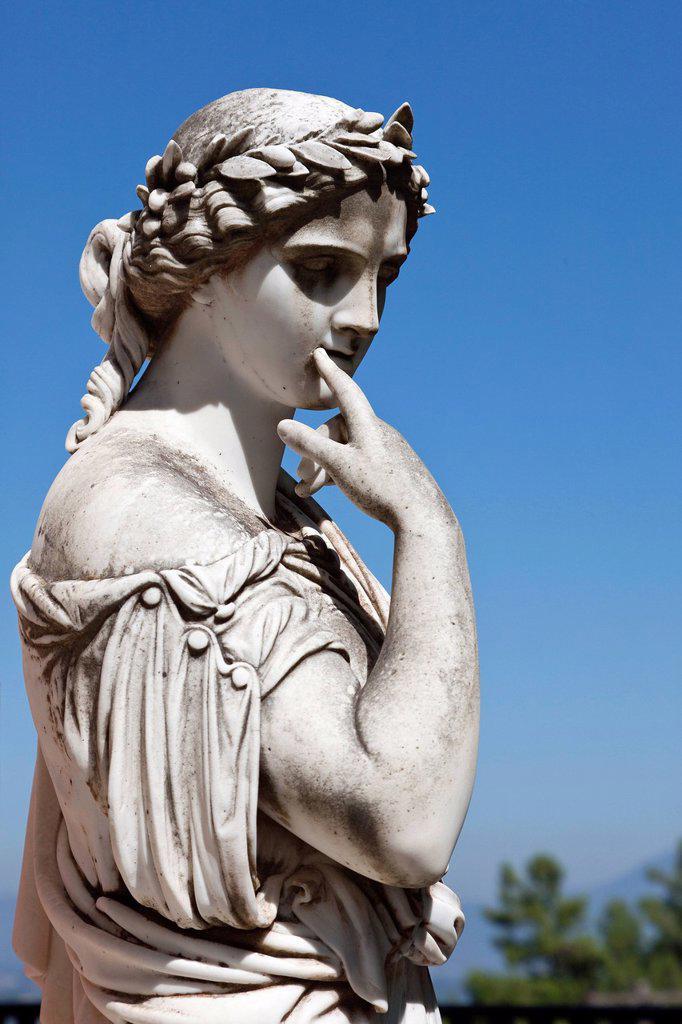 Stock Photo: 1848-662335 Statue in the Achillion Palace near Gastouri, eastern Corfu, Corfu Island, Ionian Islands, Greece, Southern Europe, Europe