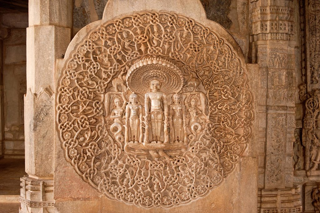 Stock Photo: 1848-662356 Artistic marble wall frieze in the Chaumukha marble temple in Ranakpur, sanctuary of the Jain religion, Rajasthan, North India, Asia