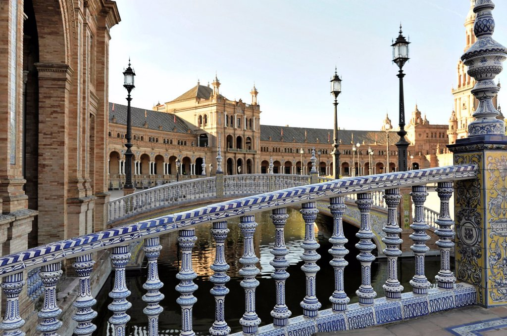 Stock Photo: 1848-662459 Bridge railing, Plaza de España, Sevilla, Andalusia, Spain, Europe