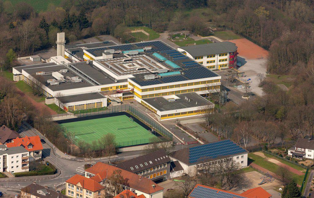 Aerial view, comprehensive school, Froendenberg Ruhr, Ruhr area, North Rhine_Westphalia, Germany, Europe : Stock Photo