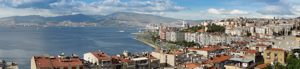 Cityscape with port, panoramic image, Izmir, Turkey, Eurasia : Stock Photo