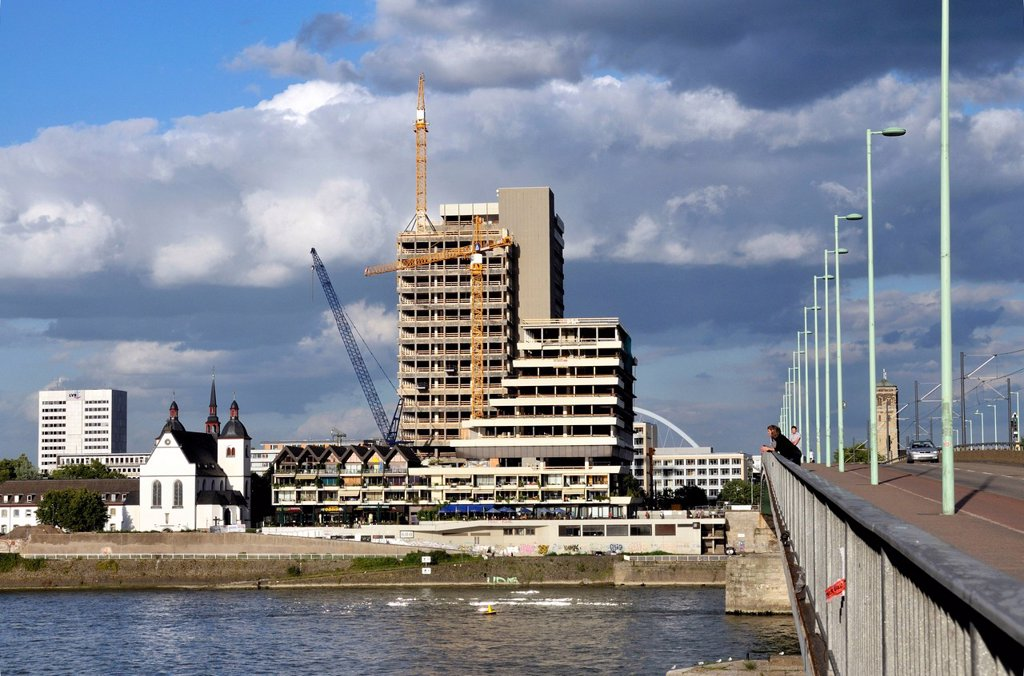 The Lufthansa high_rise building, seat of the German airline until 2007, on the bank of the Rhine River at Deutz, renovation until 2012 to become the MaxCologne development, Cologne, North Rhine_Westphalia, Germany, Europe : Stock Photo