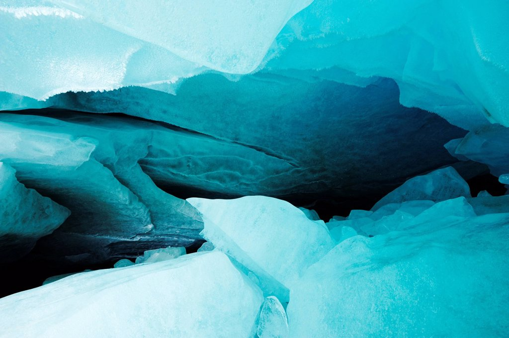 Stock Photo: 1848-662783 Natural ice cave in the Zinal Glacier, Zinal, Valais, Switzerland, Europe