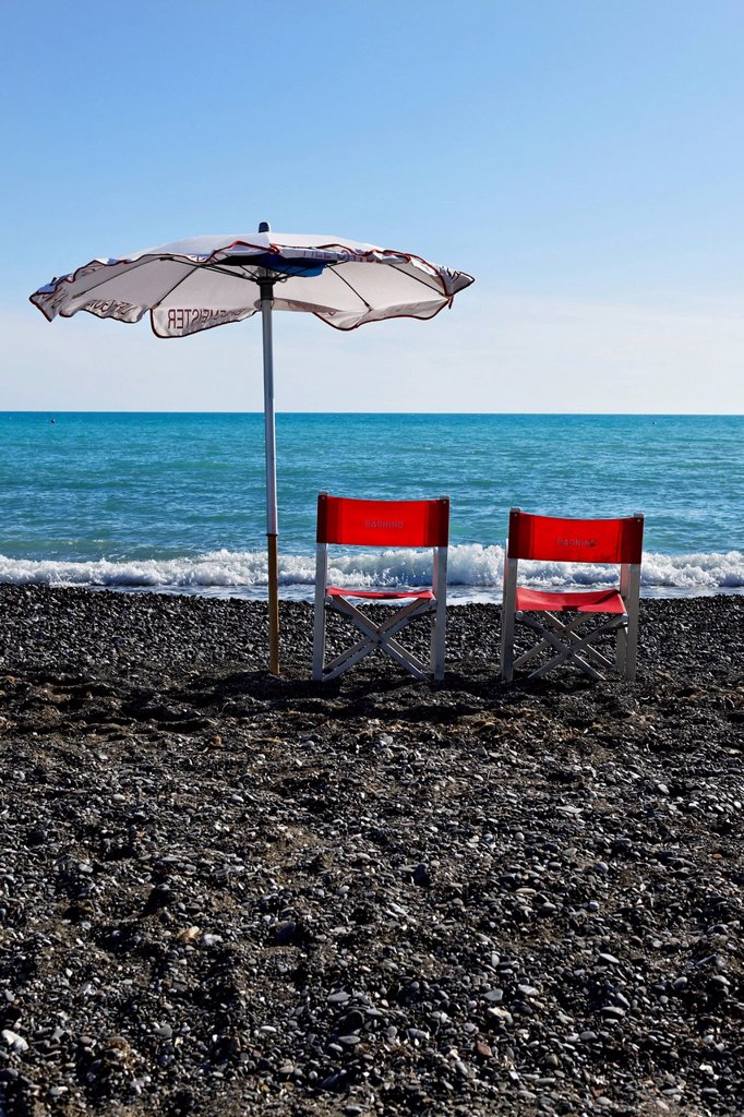 Stock Photo: 1848-662926 Italian life guard chairs and sun umbrella on beach, Le Gorette, Cecina, Tuscany, Italy, Europe