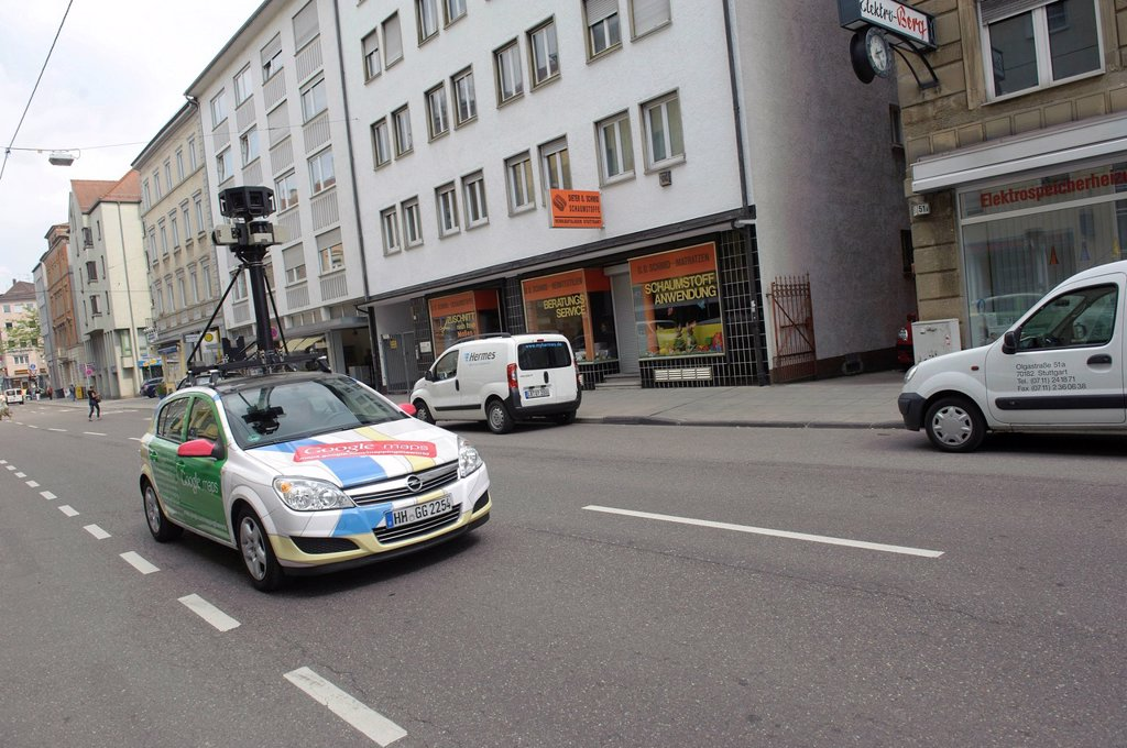Stock Photo: 1848-663366 Google Street View camera equipped car in Olgastrasse, Stuttgart, Baden_Wuerttemberg, Germany, Europe