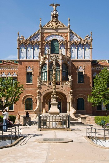 Stock Photo: 1848-6639 Building on the grounds of the Hospital de la Santa Creu i Sant Pau, Catalan for Hospital of the Holy Cross and Saint Paul, Eixample district, Barcelona, Spain, Europe