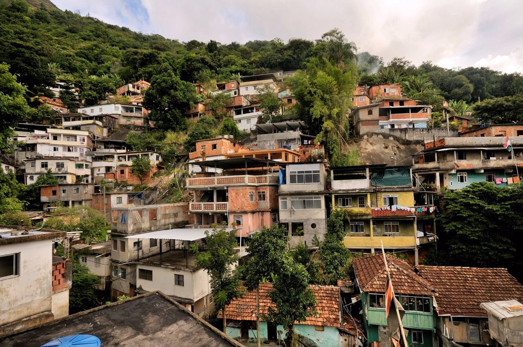 Stock Photo: 1848-664144 Slum district of Favela Morro da Formiga, Tijuca district, Rio de Janeiro, Brazil, South America