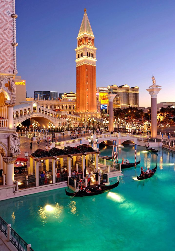 Canale Grande, Grand Canal, Campanile bell tower, gondola, The Strip, 5_star luxury hotel The Venetian Casino, The Mirage, The Bellagio, taking at the blue hour, Las Vegas, Nevada, United States of America, USA : Stock Photo