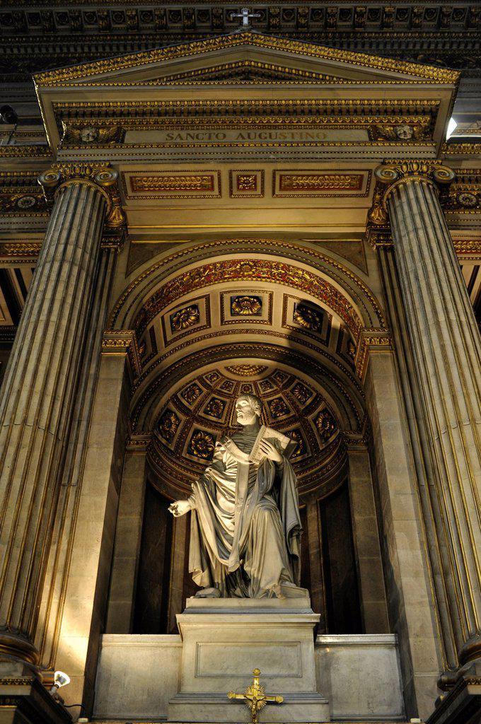Stock Photo: 1848-664512 Interior, statues of biblical stories, church Église de la Madeleine or L´église Sainte_Marie_Madeleine, Paris, France, Europe