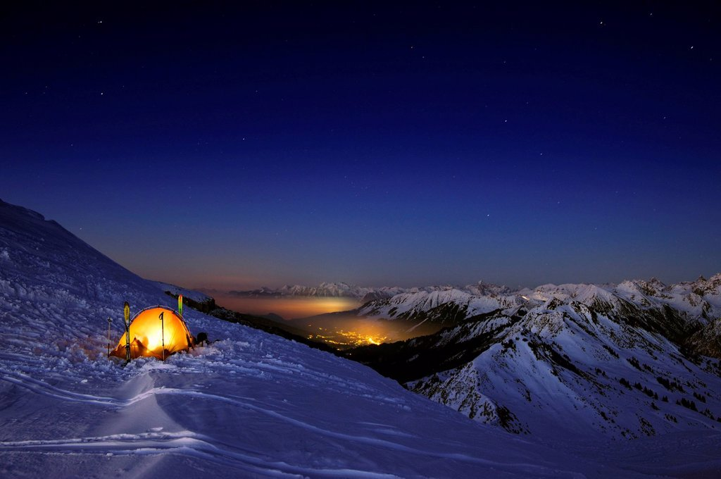 Mountain panorama with tent in winter, Baad, Kleinwalsertal, Vorarlberg, Austria, Europe : Stock Photo