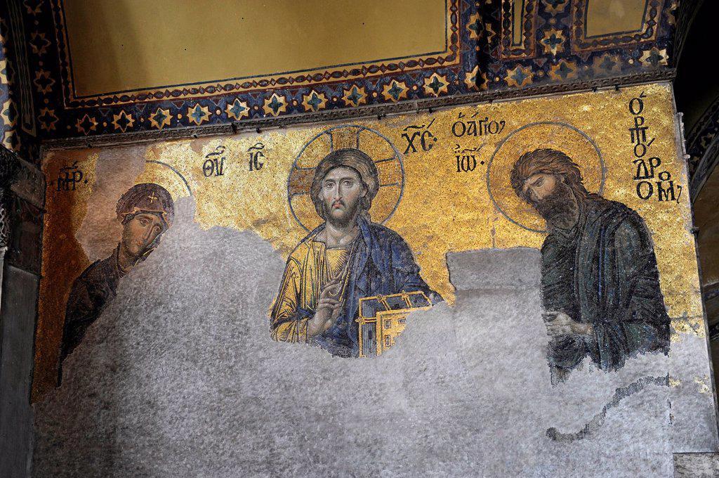 Stock Photo: 1848-665395 Deesis Mosaic, Virgin Mary, Jesus Christ Pantocrator, St. John the Baptist, from left, Hagia Sophia, Ayasofya, Istanbul, Turkey