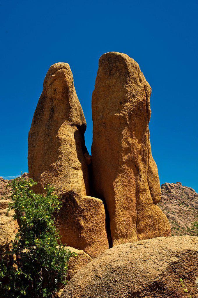 Impressive granite rocks in the Anti_Atlas or Lesser Atlas range, Southern Morocco, Morocco, Africa : Stock Photo