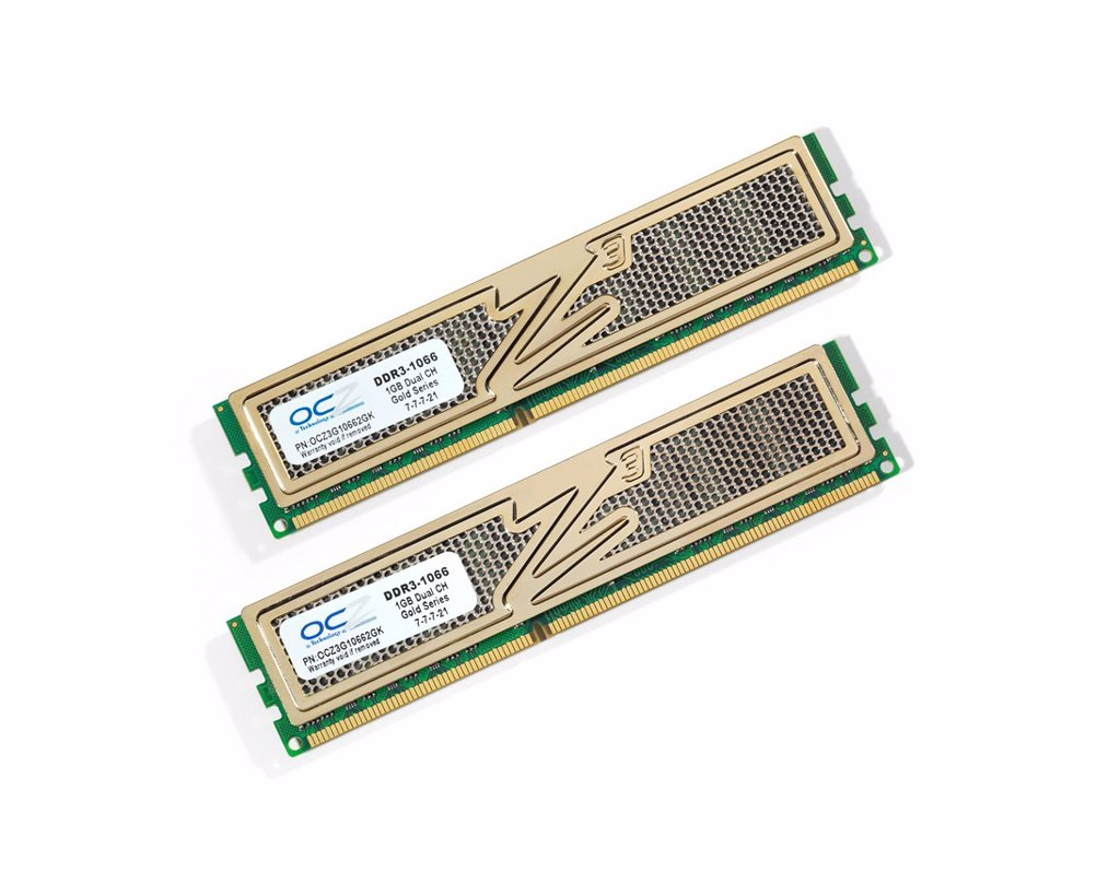 Two desktop computer OCZ DDR_3 memory modules : Stock Photo