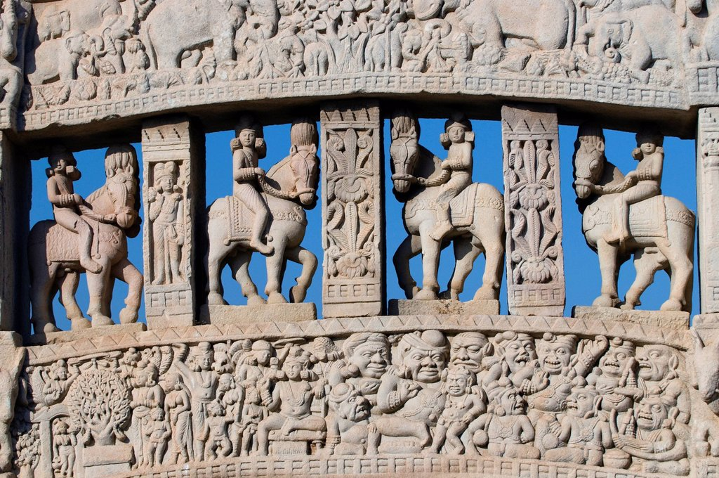Stock Photo: 1848-665913 Equestrian figures, ornaments, Stupa of Sanchi, UNESCO World Heritage Site, Madhya Pradesh, India, Asia