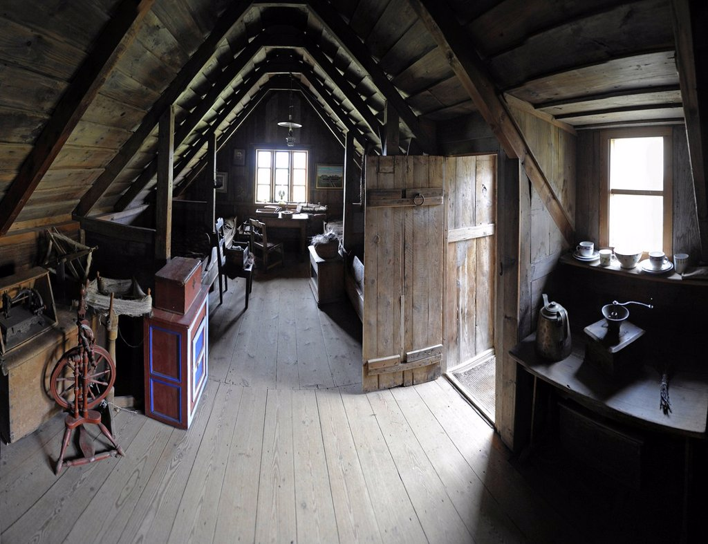 Interior of a sod house from 1896, open_air museum Skógar, Iceland, Europe : Stock Photo
