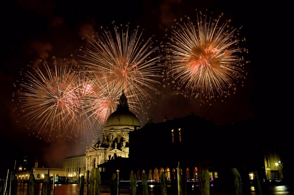 Stock Photo: 1848-666093 Aerial fireworks display at the Redentore Festival 2011, Venice, Italy, Europe