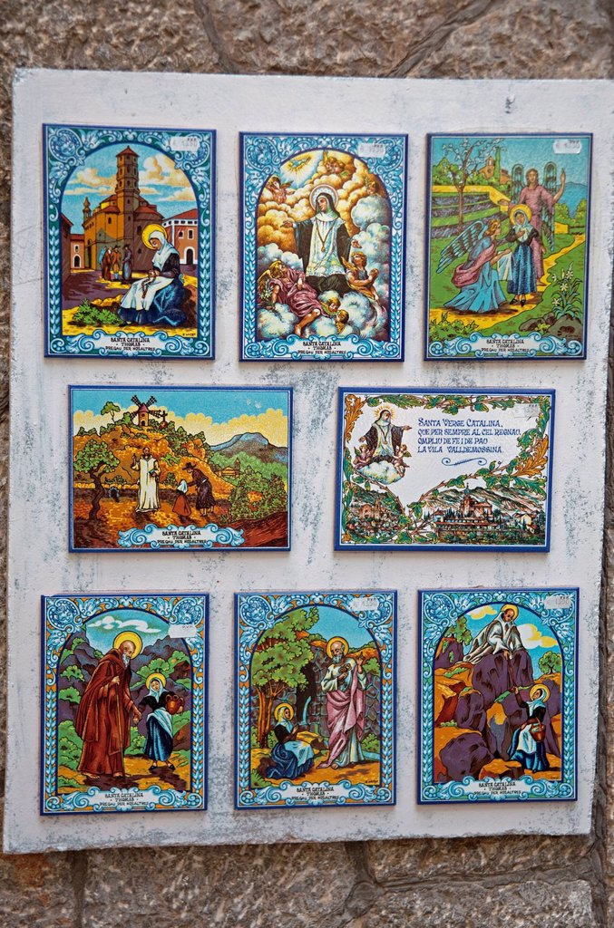 Images of saints on tiles, Valldemossa, Comarca Serra de Tramuntana region, Majorca, Balearic islands, Spain, Europe : Stock Photo