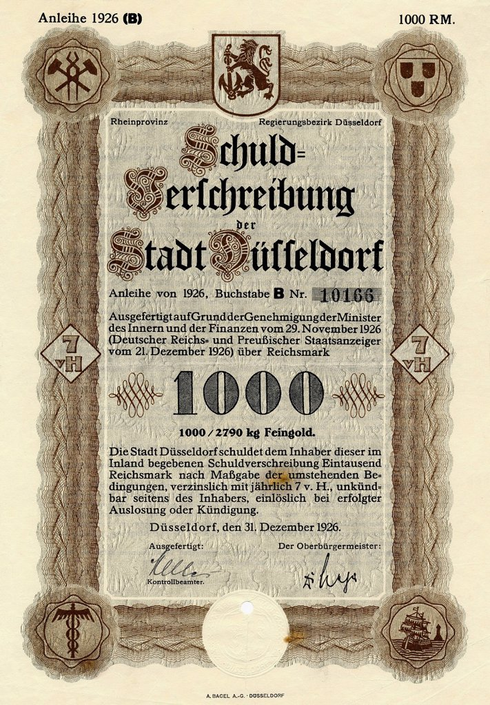 Stock Photo: 1848-666151 Historic stock certificate, debenture bond of the city of Duesseldorf, 1000 reichsmarks, 1926, Germany, Europe
