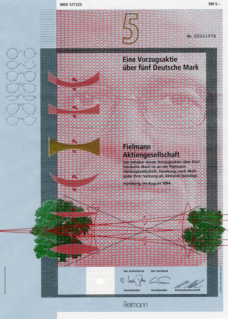 Historic stock certificate, share, 5 Deutschmarks, Fielmann Aktiengesellschaft, an optician chain, 1994, Hamburg, Germany, Europe : Stock Photo
