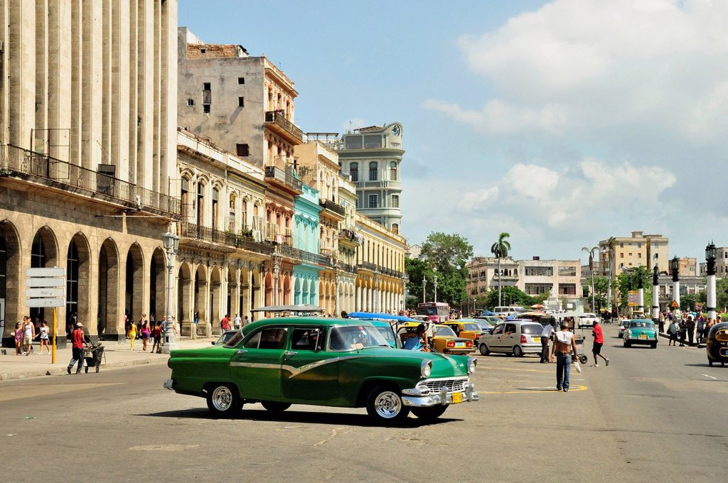 Stock Photo: 1848-666680 Vintage car in front of buildings with colourful facades, Habana Vieja, Old Havana, Havana, Cuba, Caribbean