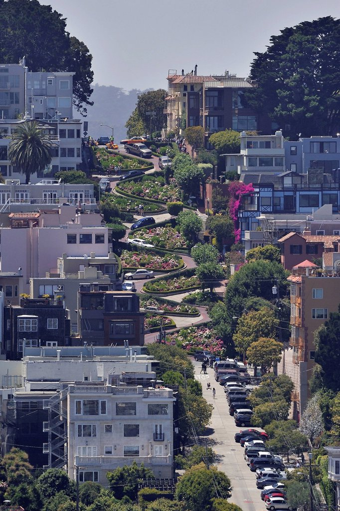 Stock Photo: 1848-666838 Lombard Street, the American street with the most curves, San Francisco, California, USA