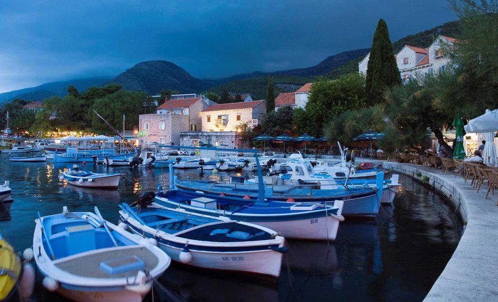 Stock Photo: 1848-667052 Fishing boats in the port of Bol, Brac Island, Dalmatia, Croatia, Europe