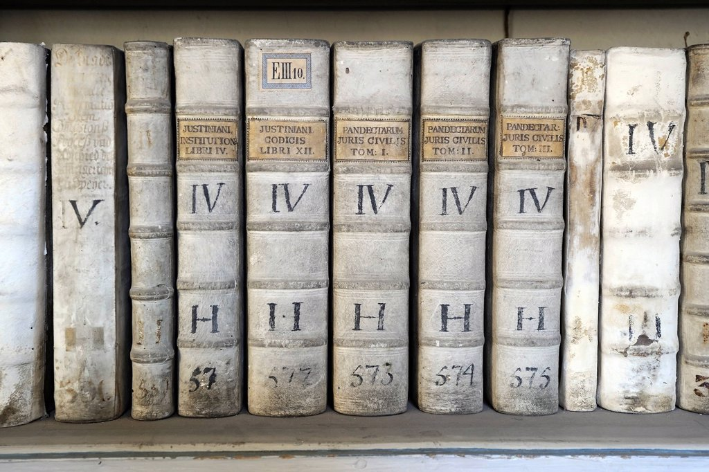 Stock Photo: 1848-667054 Very old books in the library of the Strahov Monastery, Hrad&269,any, Prague Castle District, Prague, Czech Republic